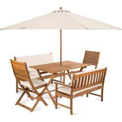 Fieldmann meble ogrodowe emily 6l2 + poduszki kremowe + parasol kremowy