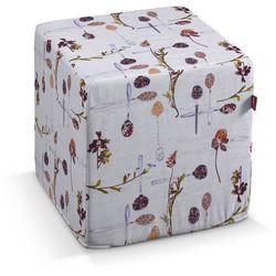 pufa kostka twarda, kuchenne motywy na szaro-beżowym tle, 40x40x40 cm, flowers marki Dekoria