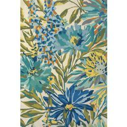 Niebiesko zielony dywan w kwiaty floreale marine marki C&m