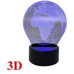 Designerska Lampka Nocna Hologram 3D - Kula Ziemska / Globus (3 kolory).