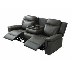 Sofa 3-osobowa kenneth z elektryczną funkcją relaksu, ze skóry – kolor taupe marki Vente-unique