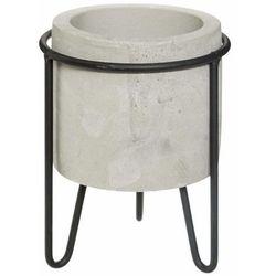 Doniczka na stojaku, okrągła doniczka z cementu, struktura betonu, Ø 12 cm marki Atmosphera