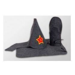 Produkcja własna Zestaw sauniarza szary budjonovka - czapka rękawica ręczniczek