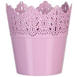 Osłona plastikowa na doniczkę Koronka 11,5 cm, różowy
