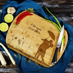 Deszczowa piosenka - deska do krojenia z grawerem - deska bambusowa marki Mygiftdna