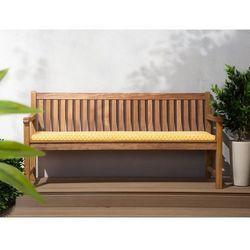 Ławka ogrodowa drewniana 180 cm poducha w żółtym wzorze JAVA (4260586357202)