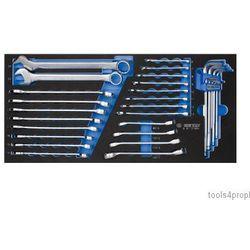 Zestaw 31cz. kluczy płąsko-oczkowych 6-24mm, do przewodów hamulcowych 8-17mm, imbusów h1.5 - h10, wkład z