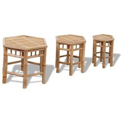 Vidaxl  zestaw trzech sześciokątnych krzeseł bambusowych, kategoria: krzesła ogrodowe