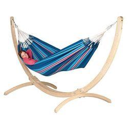 Zestaw hamakowy: hamak dwuosobowy currambera ze stojakiem canoa, niebieski / turkusowy cuh16cns16-1 marki La siesta