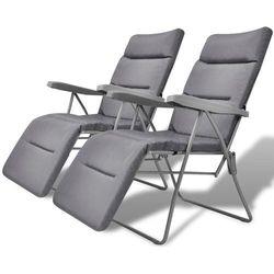 Vidaxl składane krzesła ogrodowe z poduszkami, 2 szt., szare (8718475965213)