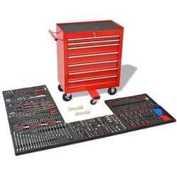 Vidaxl wózek warsztatowy z 1125 narzędziami, stalowy, czerwony (8718475518808)