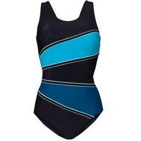 Kostium kąpielowy wyszczuplający  czarny-niebieskozielony morski, Bonprix, L-XXXL