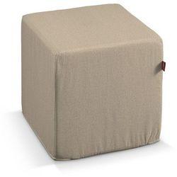 pokrowiec na pufę kostke, jasny beż, kostka 40 × 40 × 40 cm, edinburgh marki Dekoria
