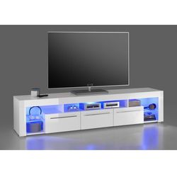 Szafka RTV GLOB 2 biała 200/40/44 cm z LED