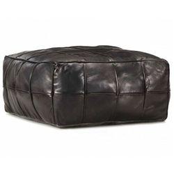 Czarna pufa siedzisko skórzane - klavo 2x marki Elior