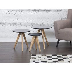 Stolik kawowy czarny - ława - stół - zestaw - vegas marki Beliani