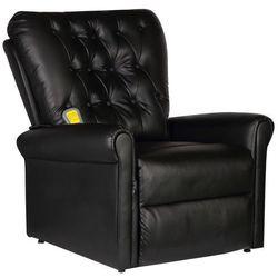 vidaXL Masujący fotel elektryczny z czarnej eko-skóry (8718475917021)