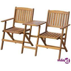 vidaXL Ławka ogrodowa z rozkładanym stolikiem, drewno akacjowe (8718475502593)