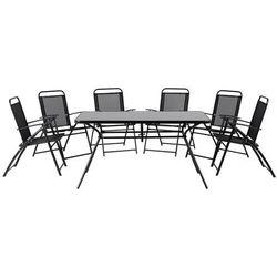 Beliani Meble ogrodowe czarne - balkonowe - stół z 6 krzesłami - stal - livo