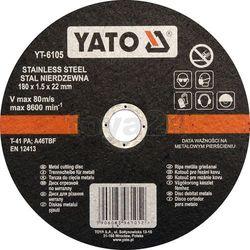 Yato Tarcza do cięcia stali nierdzewnej 180x1,5x22 mm / yt-6105 /  - zyskaj rabat 30 zł