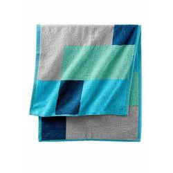 Ręczniki z nadrukiem w kolorowe kwadraty niebieskozielony morski marki Bonprix