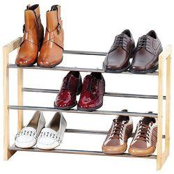 Elegancka szafka na buty z drewna i chromowanego metalu, teleskopowy regał na buty, szafka na buty do przedpokoju, półka na buty, drewniana półka, Kesper (4000270697043)