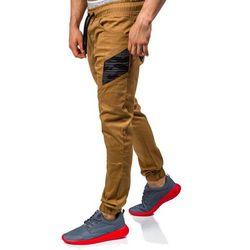 Camelowe spodnie joggery męskie Denley 0706 - CAMELOWY, kolor brązowy
