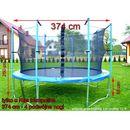 Trampolina ogrodowa z siatką o średnicy 374 cm 12 ft - 374 cm marki Top fitness