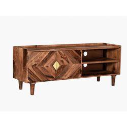 Vente-unique Szafka rtv kaleido — 2-drzwiowa z 2 wnękami – drewno sheesham – kolor naturalny i złoty
