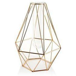 Mondex Metalowy złoty wazon ze stelarzu szkła cedric