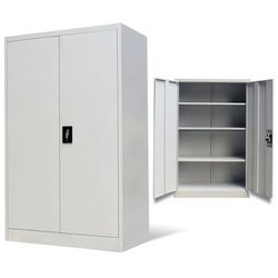 vidaXL Dwudrzwiowa, metalowa szafa biurowa, 140 cm, szara