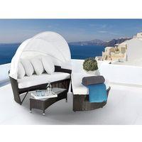Rattanowy fotel kosz ogrodowy baldachim - SYLT LUX