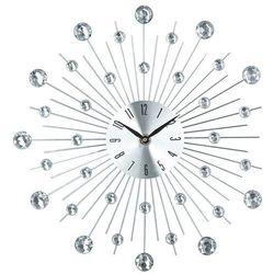 Okrągły zegar, ścienny, dekoracja nowoczesnych pomieszczeń, designerski zegar, kolor srebrny, kryształy,, kolor szary