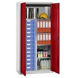Szafa na materiały i szafa z szufladami, 4 półki, 13 szuflad, jasnoszara, ral 70 marki Eurokraft