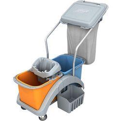 Wózek do sprzątania dwuwiadrowy 2 x 20 litrów z wyciskarką do mopa, koszyczkiem i workiem z pokrywą TS20020 Splast, NTS20020