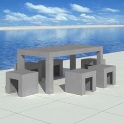 vidaXL Betonowy zestaw meblowy 1 stół + 6 taboretów, kup u jednego z partnerów