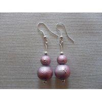 K-00157 Kolczyki z różowymi perłami, kolor różowy