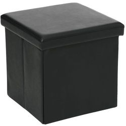 Pufa ze sztucznej skóry, pufa 2 w 1 ze schowkiem, podnóżek - kolor czarny