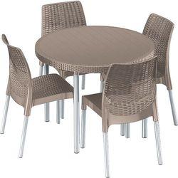 Zestaw mebli ogrodowych ALLIBERT Jersey Set (Cztery krzesła + stolik) Cappuccino