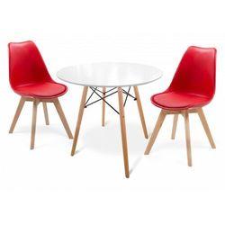 E-lozka Stół skandynawski 60cm malmo (art105t) białe + 2 krzesła 53e-7 czerwone (9999001189542)