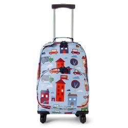 Penny Scallan Design, walizka na czterech kółkach, błękitna w autka z kategorii Walizeczki