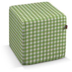 Dekoria Pufa kostka, zielono biała kratka (1,5x1,5cm), 40 × 40 × 40 cm, Quadro