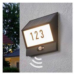 Lampenwelt Solarna lampa z numerem domu inessa, czujnik