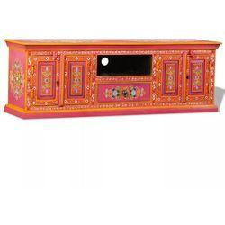 vidaXL Szafka pod telewizor, drewno mango, różowa, ręcznie malowana (8718475557302)
