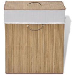 Vidaxl bambusowy kosz na pranie - prostokątny, naturalny kolor