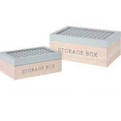 Komplet drewnianych pudełek, ozdobne kuferki na drobiazgi, zestaw 2 szt - zielony marki Home styling collection