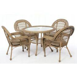 Meble ogrodowe technorattan stół 4 krzesła zestaw marki Tm