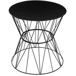Atmosphera créateur d'intérieur Okrągły stolik kawowy na metalowych nogach, stolik do kawy, stolik do salonu, stolik do pokoju, czarny stolik, stolik metalowy