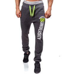 Antracytowe spodnie dresowe baggy męskie Denley NB815 - ANTRACYTOWY marki STEGOL