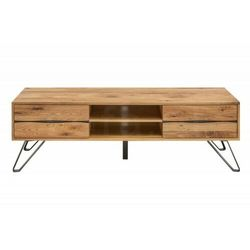 Invicta szafka pod telewizor living edge - 160 cm dziki dąb, drewno naturalne, metal marki Sofa.pl